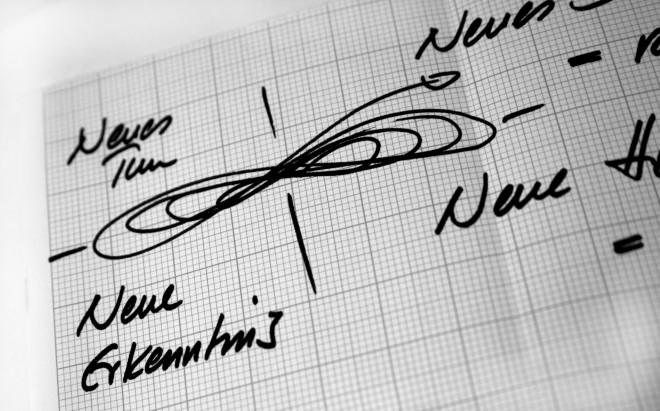 Lernen in der liegenden Acht - LILA Management Prinzip: Handskizze der liegenden Acht auf einem Millimeterpapier. Die liegende Acht ist in vier Quadranten unterteilt, die neues Denken, neue Haltung, neues Tun und neue Erkenntnis genannt werden.