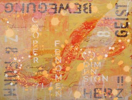 Lernen in der liegenden Acht - polare Kräfte - Kresse-Wallner 2009: Akrylbild in Orange. Zu erkennen ist eine rote, sehr breit gemalte liegende Acht. Im Bild finden sich die großen Texte GEIST HERZ BEWEGUNG FORM in dunkler Schrift. In weißer Schrift sind etwas kleine ebenso Wörter zu erkennen: Cooper, Dimension, Fenomen.