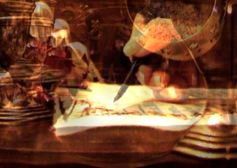 Madame Di Men Sion - train the eight: Die Abbildung zeigt eine Damenhand, die mit einer Feder auf einem alten Papier schreibt.