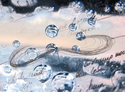 train the eight - die liegende Acht: Bild der liegenden Acht als Handskizze. Im Hintergrund eine Illustration von Wassertropfen und ein blau-brauner Hintergrund.