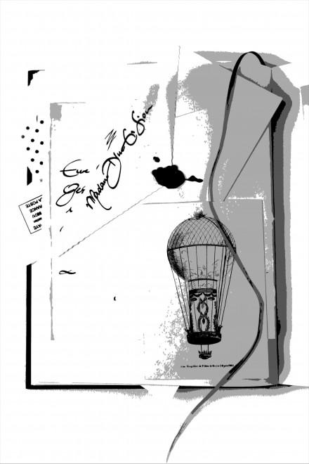 Der Ballon der Madame Di Men Sion: Illustration aus dem Buch: Das LILA Management Prinzip. Es zeigt ein Kuvert mit der Schrift von Madame Di Men Sion. Das Kuvert liegt in einem Buch; zu sehen ist auch eine Zeichnung eines Heißluftballons. Das ganze Bild ist in schwarz-weiß gehalten.
