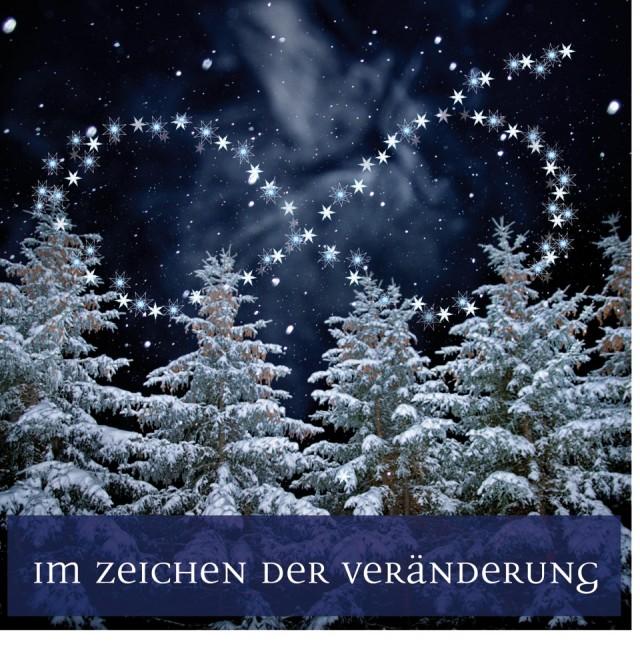 xmas 2010 train the eight: Weihnachtskarte, die ein Nachtfoto eines beschneiten Waldes zeigt. Am Sternenhimmel ist eine liegende Acht zu sehen.