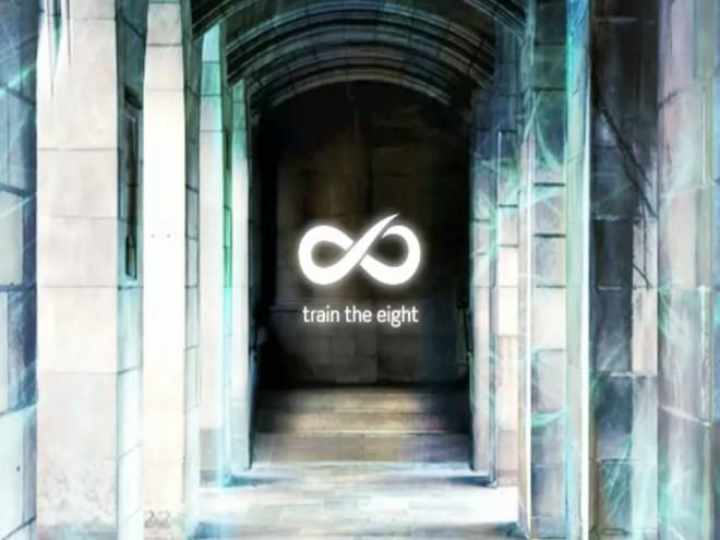 """train the eight: Das Bild zeigt eine alte Säulenhalle. Es wirkt wie ein Eingang in einen dunklen Raum. In der Mitte steht das weiße Logo von """"train the eight"""" - eine liegende Acht die sich rechts oben öffnet."""