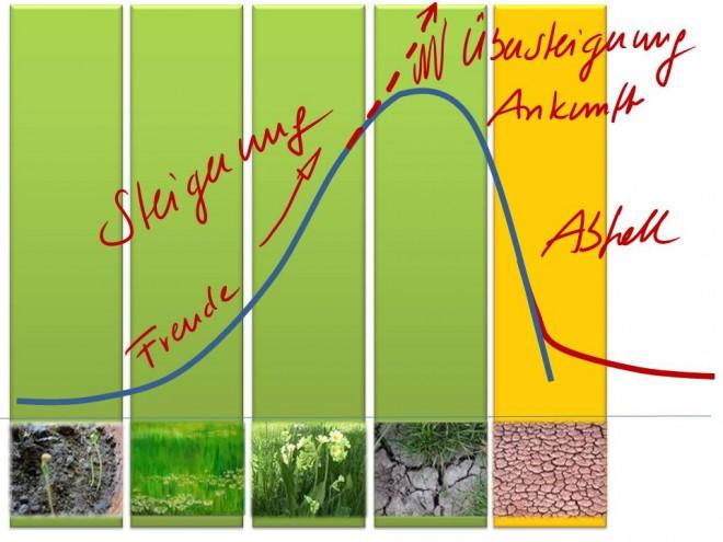 Steigerung und Ankunft: Kurve eines Lebenszykluses eines Systems. Das Wachstum erfolgt zuerst langsam und beschleunigt sich dann bis der höchste Punkt erreicht wird. Dann nimmt das Wachstum wieder ab, das System verliert an Kraft und geht langsam dem Ende zu.