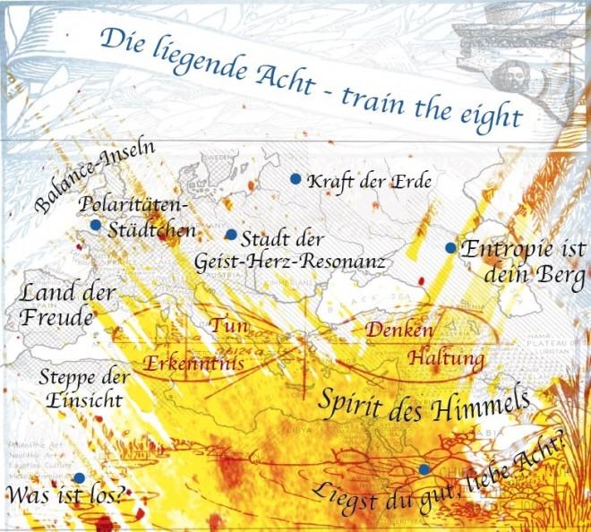 Bild einer künstlerisch gestalteten Landkarte. Anstatt realer Städte und Landschaften wurden Begriffe aus dem CHANGE verwendet. Beispiele sind: Spirit des Himmels, Polaritäten Städtchen, Entropie ist dein Berg etc.