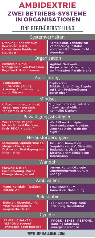 Das Bild zeigt eine Infografik zum Thema Ambidextrie. Die Grafik ist in zwei Spalten aufgeteilt. Die linke Seite beschreibt die Managementseite, die rechte Seite beschreibt die Change-Leadershipseite der Ambidextrie.
