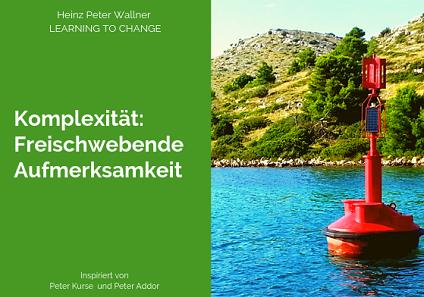"""Das Bild ist in zwei Hälften geteilt. Die rechte Bildhälfte zeigt ein Foto einer roten Leuchtboje, die im Meer nahe der Küste schwimmt. Das Wasser ist türkis-blau. Dahinter ist ein Stück der Küste in Kroatien zu sehen. Die linke Bildhälfte zeigt eine grüne Fläche mit dem weißen Text: """"Komplexität: Freischwebende Aufmerksamkeit"""". Zusätzlich der Name des Autors Dr. Heinz Peter Wallner und der Slogan: Learning to change."""