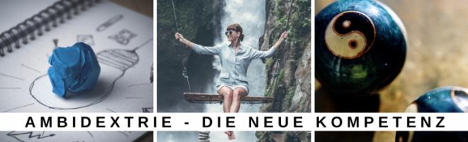 Reihe von drei Fotos zum Thema Ambidextrie in Organisationen: Bild 1 zeigt ein Foto für das rationale Denken, Bild 2 zeigt eine Frau auf einer Schaukel über einem Wasserfall, Bild 3 zeigt Ying Yang Kugeln, als Symbol für die Ambidextrie.