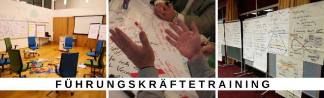 Drei Bilder aus dem Führungskräftetraining als Präsenztraining: Ein Sesselkreis im Seminarraum, Menschen in Diskussion und Flipcharts an der Wand.