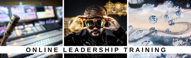 Online-Kurse für Führungskräfte. Werbebanner mit drei Bildern