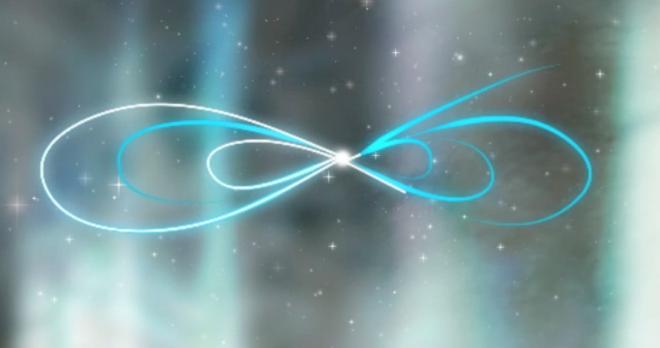 Train the eight: Bild einer liegenden Acht. Die liegende Acht ist mit hellem Blau und Weiß gezeichnet. Sie wiederholt sich mehrfach und erweitert sich daher nach außen. Der Hintergrund ist ein dunkler Sternenhimmel.