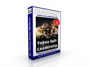 Das Bild zeigt eine Box in Form eines stehenden Buches. Es ist ein Werbefoto für den Online-Kurs Fokus Self-leadership von Dr. Heinz Peter Wallner, der auf UDEMY angeboten wird.